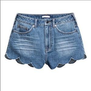 H&M Blue Jean Denim Shorts with Scalloped Hem